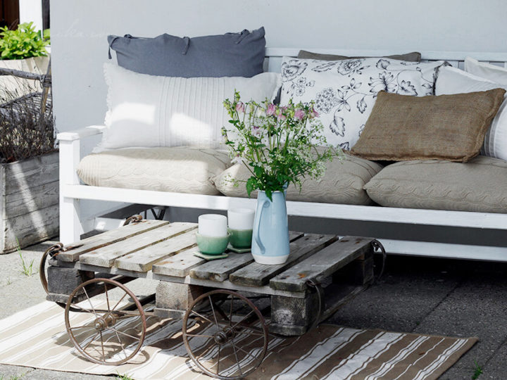 Porch couch revamp with IKEA textiles