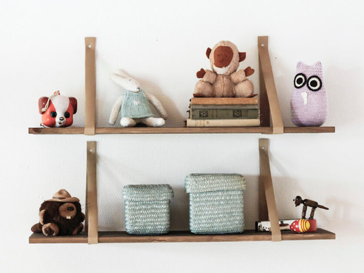 Simple shelving with leather hangings